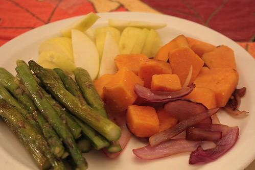 Sweet potato, onions, asparagus, apples