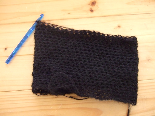cowl neck crochet sweater progress