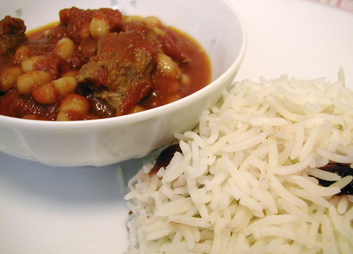 Lamb stew and cranberry basmati