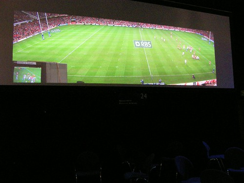 Rugby game on a 4k projector