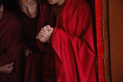 Monks eagerly awaiting the Lama's arrival, Lam...