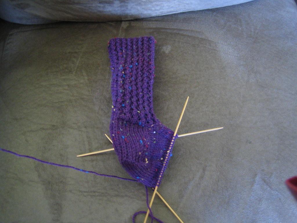 Corded Rib Sock in progress