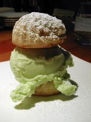 Macaroon Pistachio ice cream sandwich