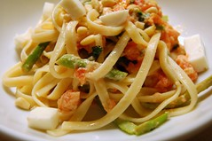 Fettucini and Asparagus with Pink Tomato Sauce and Pine Nuts