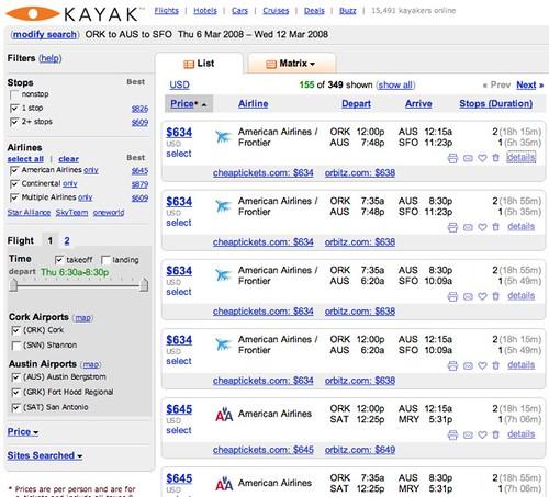 Kayak.com ORK-AUS-SFO