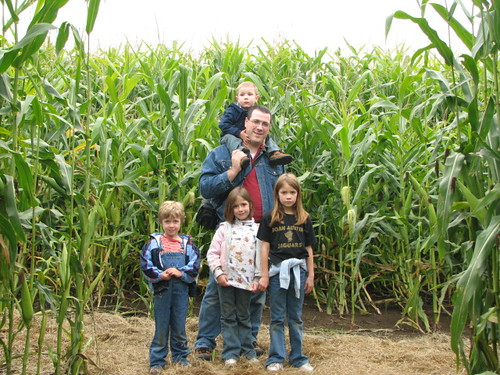 Paul and kids in Corn maze
