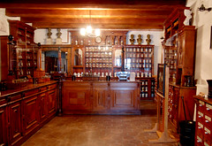 Old-fashioned pharmacy, all wood and glass