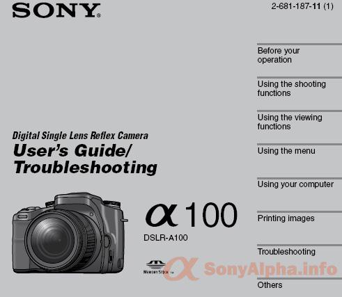 sony alpha dslr a100 user manual sony alpha dslr information hub rh sonyalpha info sony camera owner's manual sony a6000 camera user manual