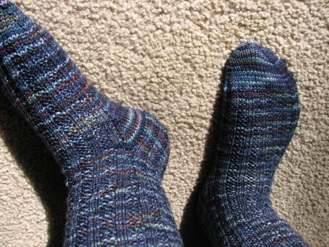 Garter Rib Socks--heel flap