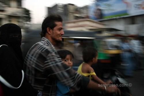 Family riding in Surat, India
