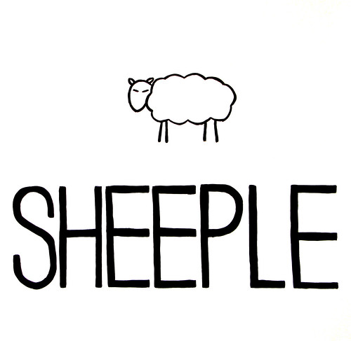 Sheeple, acrylic on cartidge paper, by Yazma Smith