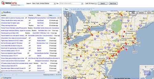 Metacarta news map