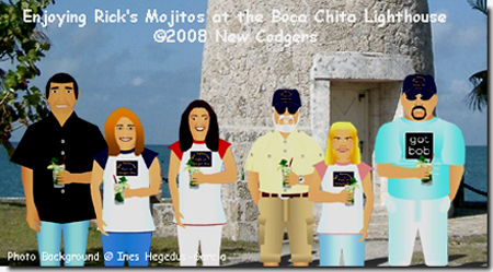 Enjoying Rick's Mojitos at the Boca Chita Lighthouse ©2008 New Codgers