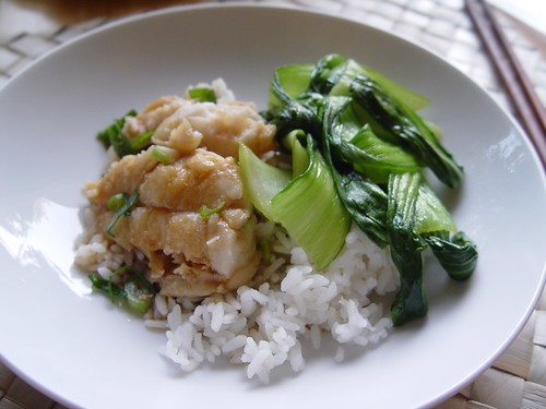 Bok choy and steamed fish