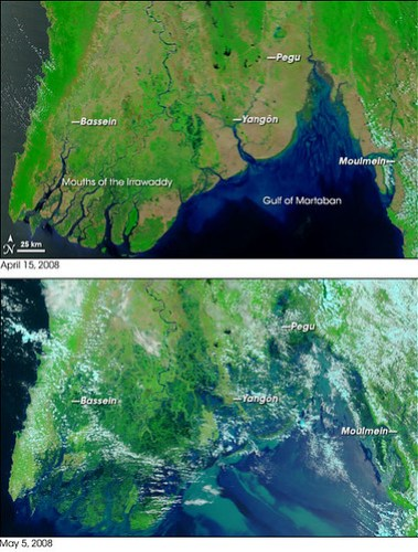 Myanmar, before and after the cyclone