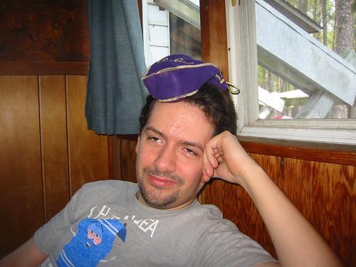 20070705-07 - 4th of July at Eric Axilbund's - IMG_2786 - Clint - wearing Crown Royal bag