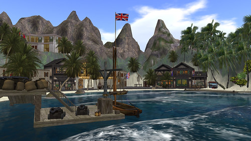British settlement at Port Charles showing the market; part of the Jabberwock pirate sims (now gone)
