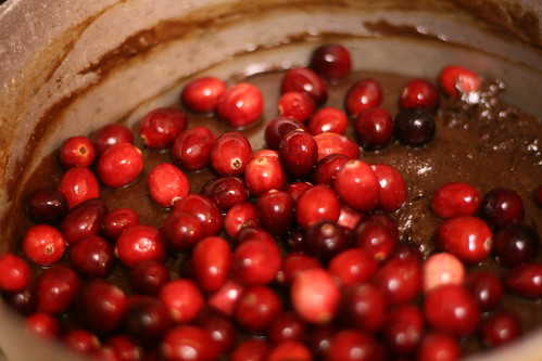 Cranberries to be mixed into chocolate base