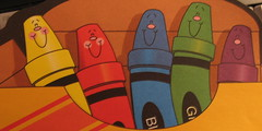 Dancing Crayons, photo of an illustration of a tablet given to me by a writing friend, December 2007,photo © 2007 by QuoinMonkey. All rights reserved.