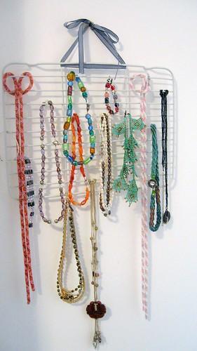 Homemade necklace holder