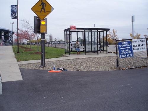 11/17/07 jillian, hiding, taking a break from parking-attending