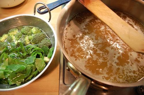 Chicken, brocolli and chard soup