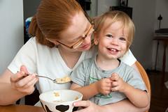 Sharing Mommy's Breakfast