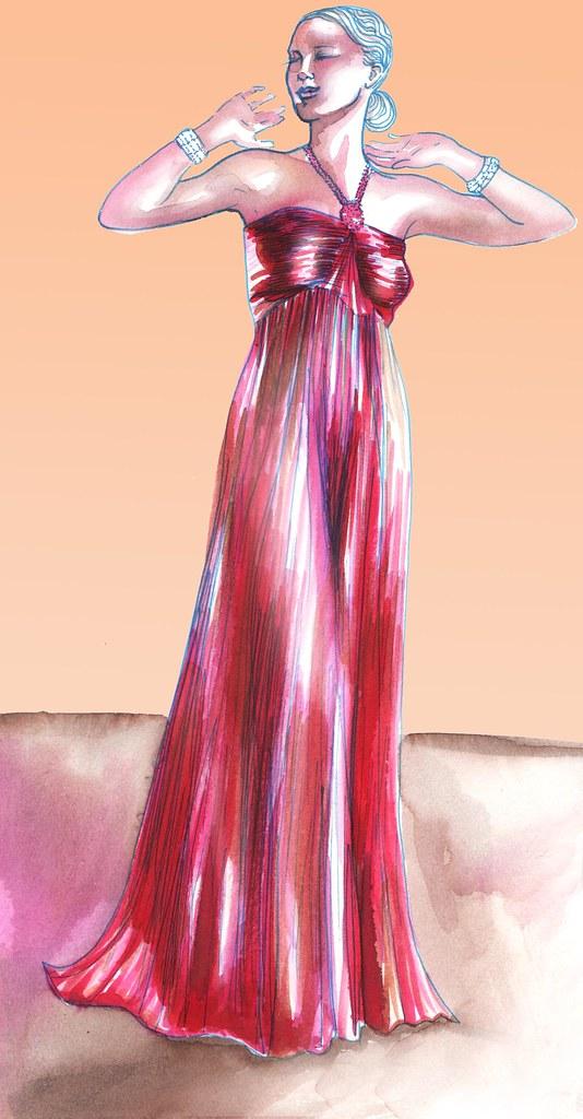 red dress 30's girl