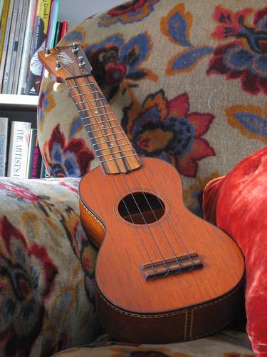 ukulele on couch