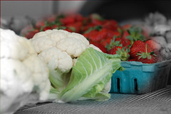 Baby cauliflower and strawberries