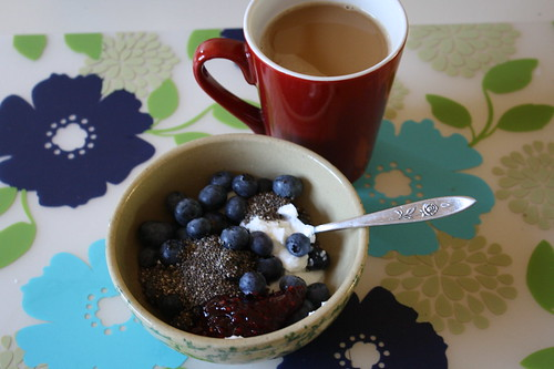 Chobani plain with blueberries, preserves, chia seeds, coffee