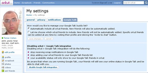 Orkut integration with GoogleTalk