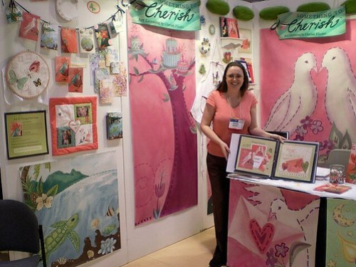 Cherish Flieder - Art Licensing Trade Show Booth for Something to Cherish watercolor and embroidery art