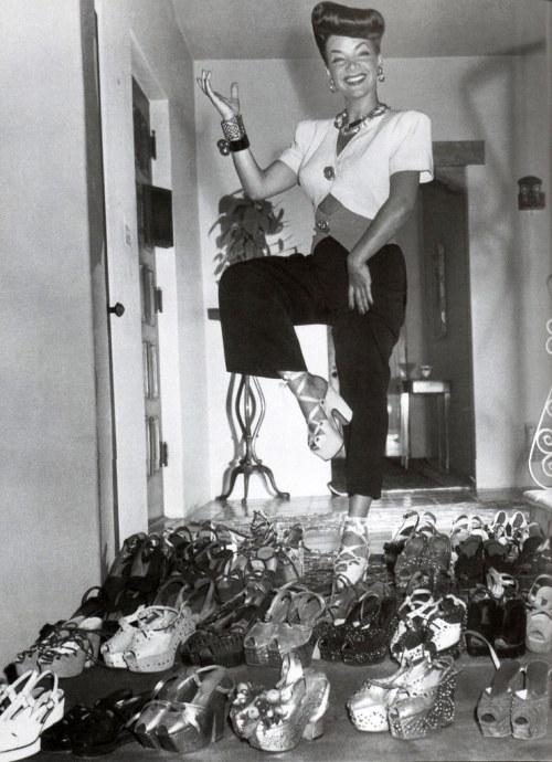 Carmen Miranda and her Platform Shoe collection, 1944
