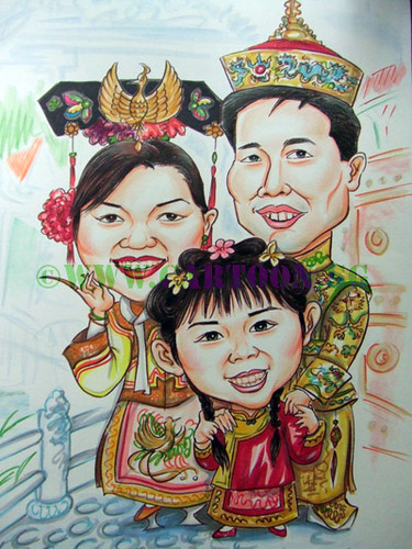 Family caricature portrait in cartoon picture