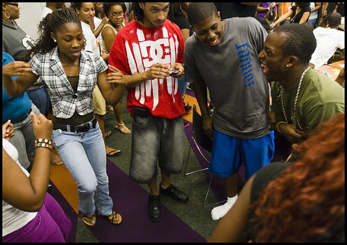 Left to right, freshman Starsha Harris, senior Andrew Kelly, freshman Jacobi Ward and freshman Kielen Wilkins throw out some moves during the Legion of Black Collegians barbecue Thursday evening at the Gaines/Oldham Black Culture Center. The annual barbecue, hosted by MUs black student government, featured food, dance and music.