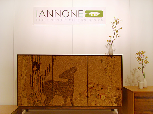 Iannone Cork Mosaic Deery Cabinet, Iannone Designs, Iannone Designs cork mosaic sideboard, ICFF 2008, International Contemporary Furniture Fair 2008, ICFF New York 2008, Inhabitat ICFF 2008, renewable materials, natural cork furniture, FSC certified furniture, formaldehyde free plywoods, locally sourced lumber