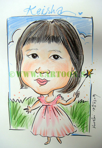 Cheerleader, fairies and ballerina caricature drawn by Singapore Caricature artists for children birthday parties