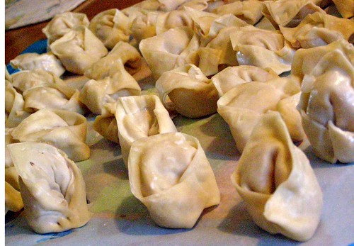 Pot stickers patiently awaiting their fate