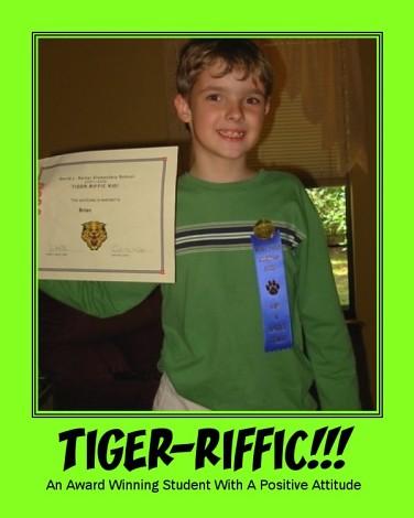 tiger-riffic kid award and ribbon