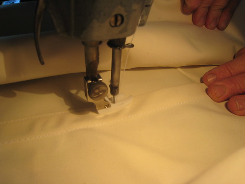 close up flat fell seam