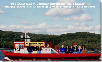 """MV Maryland & Virginia Exploring the Thames"" drawing ©2008 New Codgers"