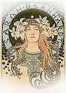 Pintura de Sarah Bernhardt 1896. Alphonse Mucha.