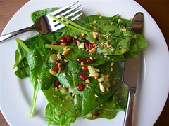 Spinach Salad with Peanuts and Pomegranate
