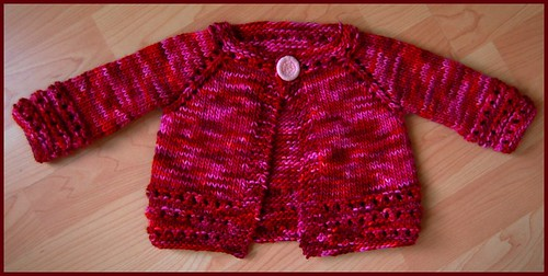 red & pink wool baby sweater