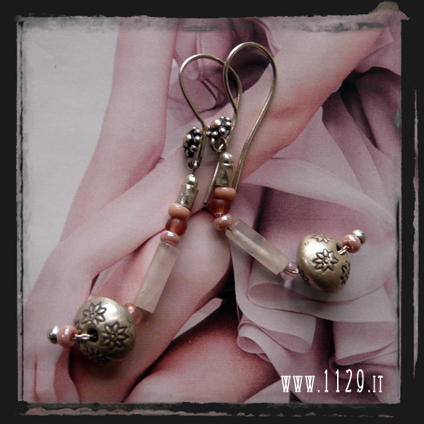 Orecchini quarzo rosa argento - Rose quartz silver earrings LEARRO