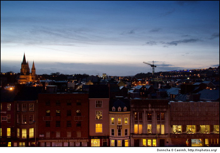 Evening sky over Cork City
