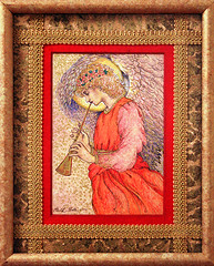 Angel Playing a Flageolet (drawing after Sir E...