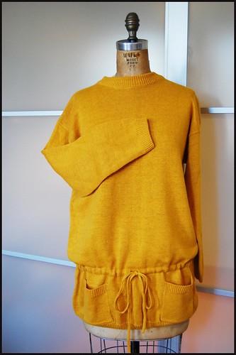 thrifted 80s mustard tunic sweater