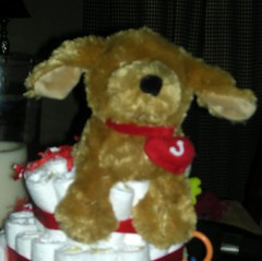 JH Diaper Cake Plush Dog Cake Topper
